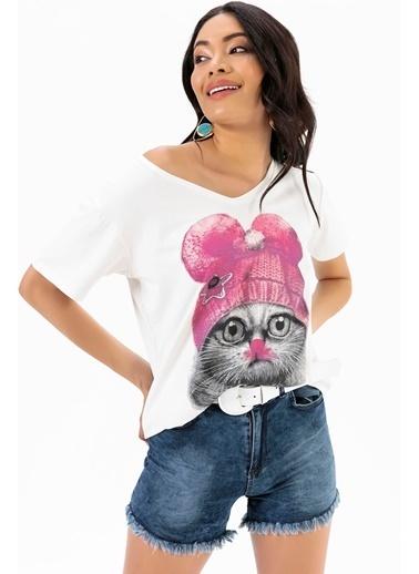 Emjey Kedi Baskı T-Shirt Beyaz